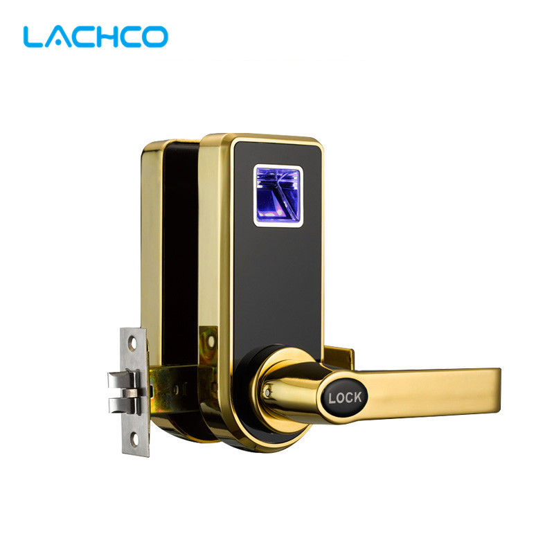 LACHCO Biometric Electric Door Lock Digital Smart Fingerprint, 2 Keys, Electronic Intelligent Lock Smart Entry Deadbolt L16073F lachco electric door lock electronic rfid card with key for hotel home apartment office latch with deadbolt smart entry l16020bs