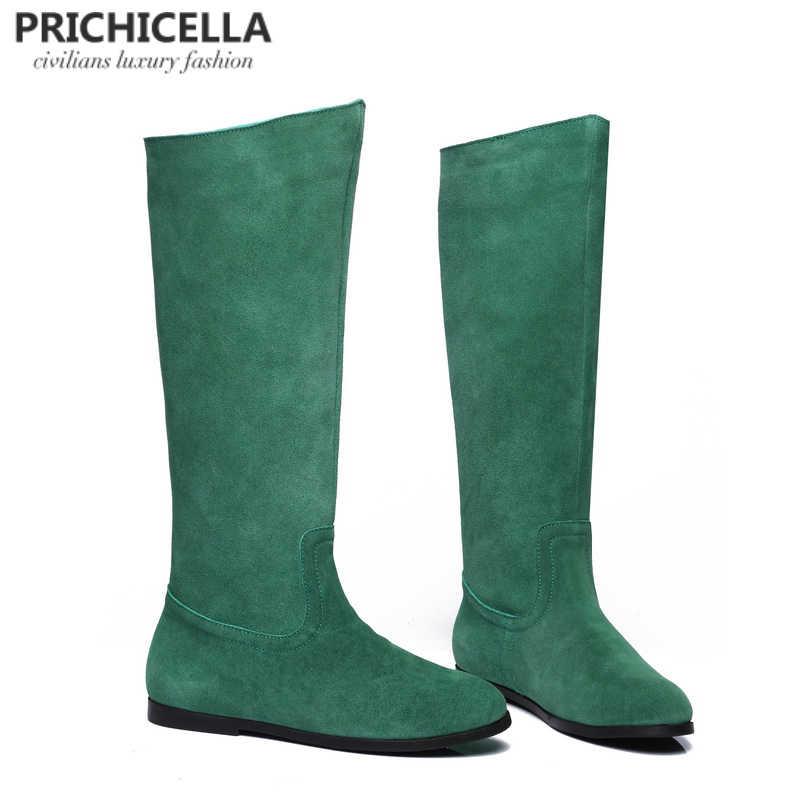 PRICHICELLA hakiki deri süet diz yüksek çizmeler kadın kış sıcak uzun patik orange yeşil renk çizmeler