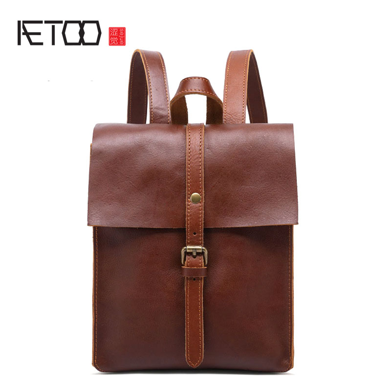 AETOO New leather backpack retro college wind lady shoulder bag first layer leather girl backpack travel bag aetoo spring and summer new leather handmade handmade first layer of planted tanned leather retro bag backpack bag