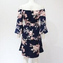 Women Dress 2018 Summer Sexy Off Shoulder Floral Print
