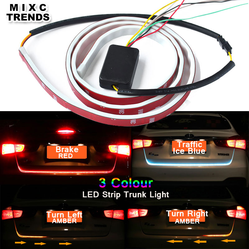 MIXCTRENDS Ice Blue Red Yellow Flow 335 LED Strip Rear Trunk Tail Light Dynamic Streamer Brake Turn Signal Led DRL Warning light
