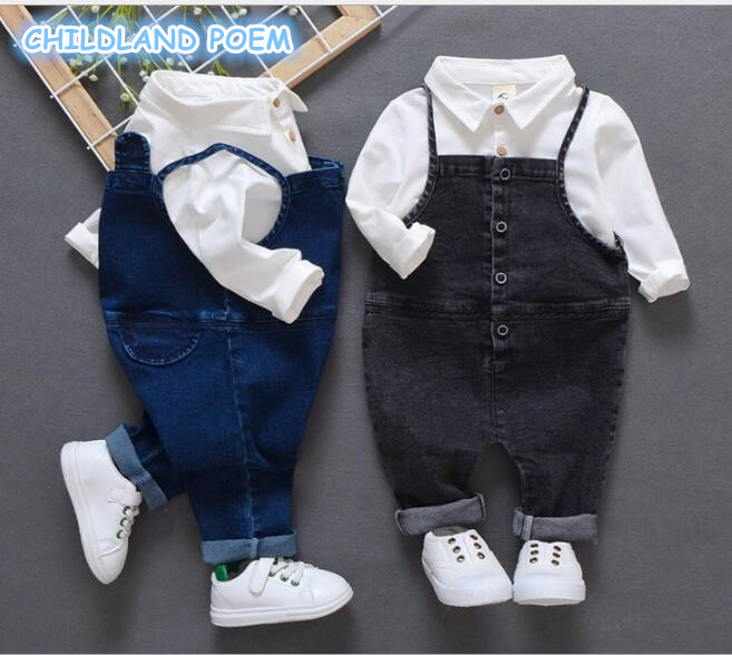 Baby Boys Clothing set Spring Baby's Sets For Boys Gentleman Baby Costume Clothes Shirt + Denim Jumpsuit Toddler Boys Outfits baby girl 1st birthday outfits short sleeve infant clothing sets lace romper dress headband shoe toddler tutu set baby s clothes