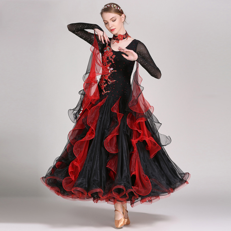 Adult Standard Ballroom Dance Dresses Women Long Sleeve Waltz Competition Dancing Skirt Rave Clothes Tango Ballroom Dance Dress