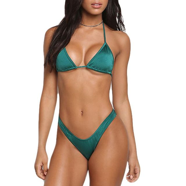 b532f05e61 Women Sexy Two-Piece Swimwear Set Halter Wireless Padded Triangle Bra  Swimsuit Color High Waist Briefs Deep V-Neck Beachwear