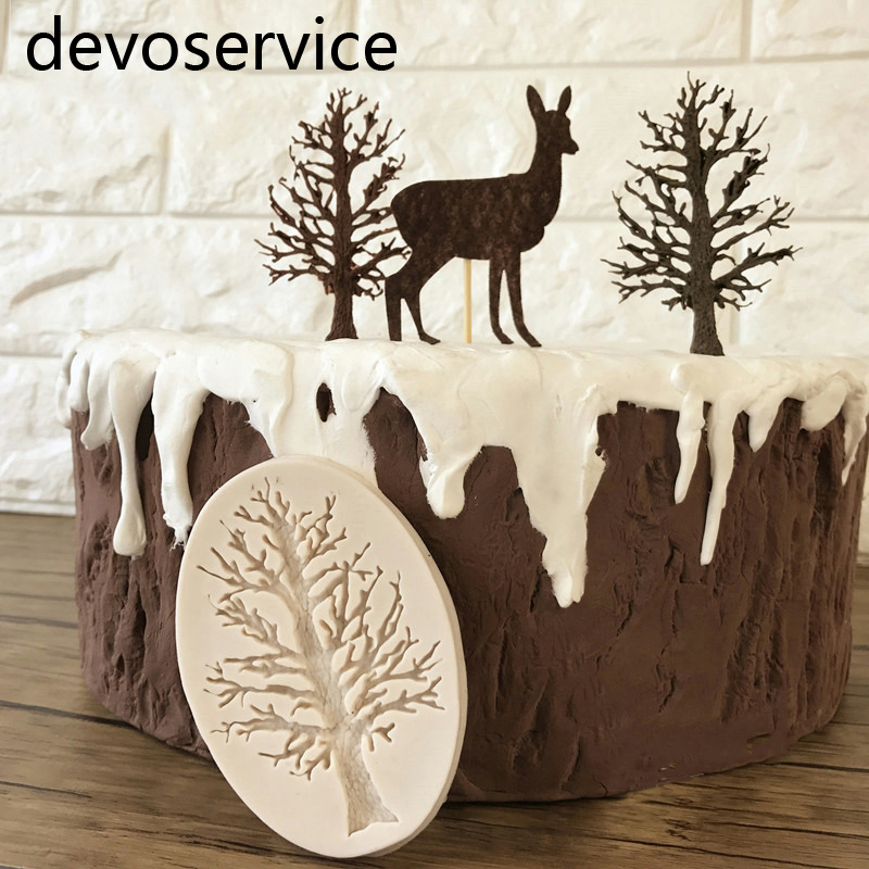 DIY Cake Border Silicone Molds Tree Cupcake Fondant Cake Decorating Tools Chocolate Soap Gumpaste Scrapbook Embellishmen Moulds
