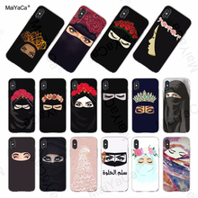 MaiYaCa Oriental Woman In Hijab Face Muslim Islamic Gril Eyes soft phone case cover for iPhone X XS MAX  XR 8 7 6S Plus 5S Cases