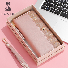 FOXER Brand Women's Cowhide Leather Long Wallets with Wristle Luxury Female Purse Lady Clutch Cellphone bag fit Iphone 8 Plus