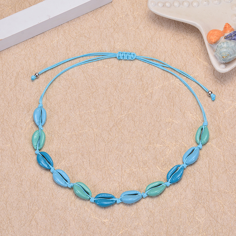 Natural Cowrie Shell Choker Necklace for Women Sea shell Necklace Adjustable Cord Rope Charms Colored seashell Necklace Boho Bea in Choker Necklaces from Jewelry Accessories
