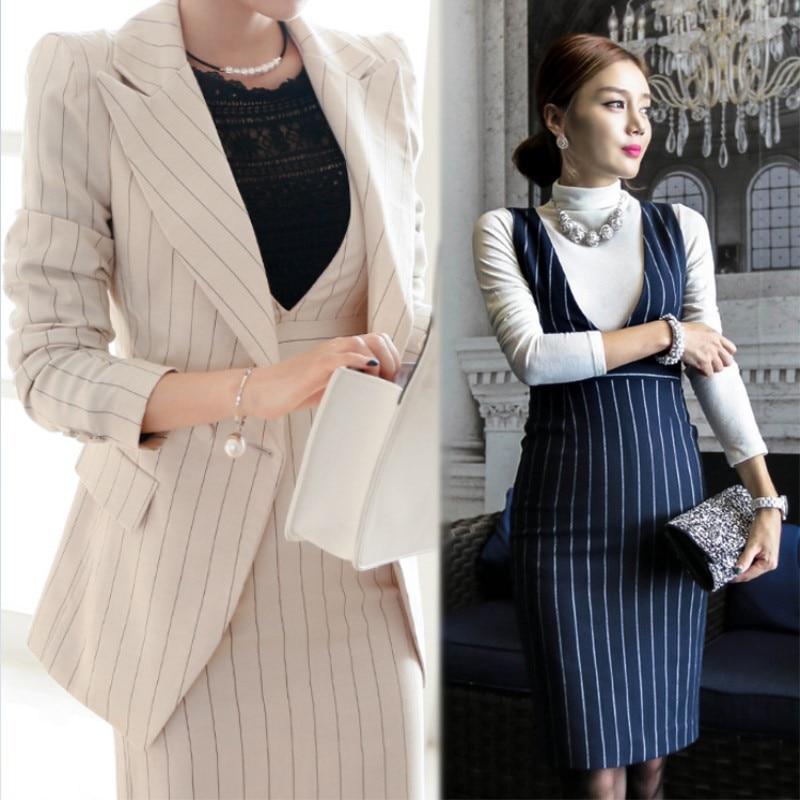 Stripe Jacket Sleeveless Vest Dress Suit Winter Women S Jacket Set
