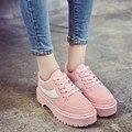 Mulheres Sapatos Casuais Rendas Até Plataformas de Moda Sapatos Confortáveis Sapatos de Estudantes do Sexo Feminino Sapatos de Caminhada da Coréia Do Estilo para a Mulher