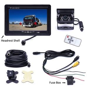 "Image 5 - Podofo DC 12V 24V 7""TFT LCD Car Monitor Display + 4 Pin IR Night Vision Rear View Camera for Bus Truck RV Caravan Trailers"