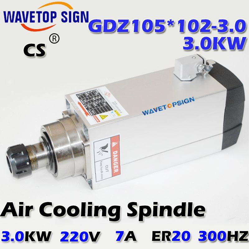 air cooling   spindle GDZ105*102-3.0 3.0kw  220v/380v 7A chuck nut ER20  Grease air cooling 18000r/min 300HZ cnc spindle 7 5kw air cooling cnc spindle gdz120 103 7 5 7 5kw 380v air cooling chuck nut er32