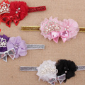 Coroa de Cristal Bonito Bowknot Flor Headbands Do Bebê da criança Infantil Suave Tecido Diamante Faixa de Cabelo headband para o bebê