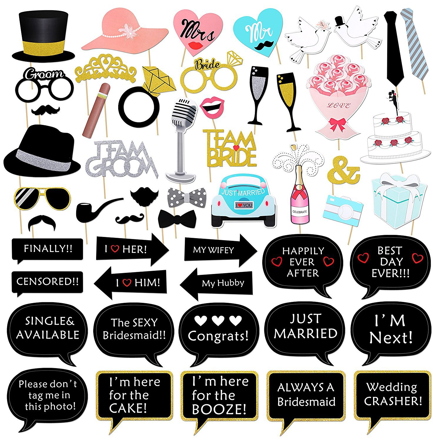 Wedding Decoration Photo Booth Props DIY Mr Mrs Funny Photobooth ...