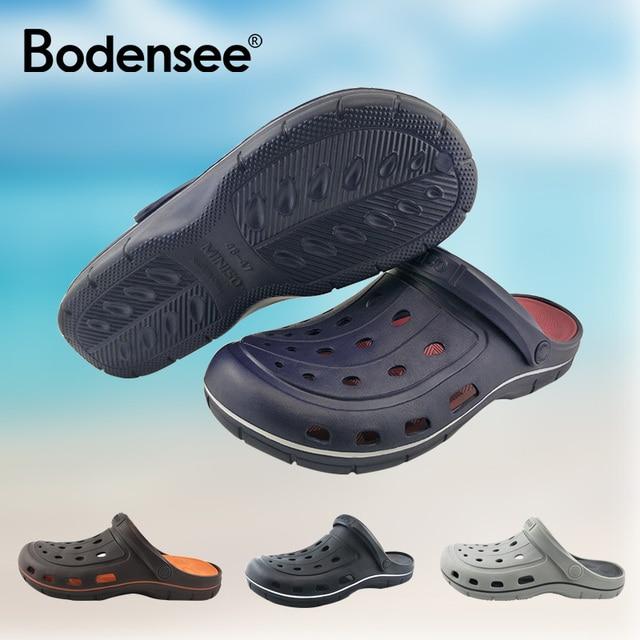 2019 Nuovo Arriva del Foro scarpe Traspiranti per gli uomini sandali da spiaggia pantofole con fori liste luce Sandalias estate esterno Chanclas