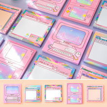 Pink Girl Pack of 5 Sticky Notes Stickers Cute Adhesive Pads Pocket Memo Stationery Gift