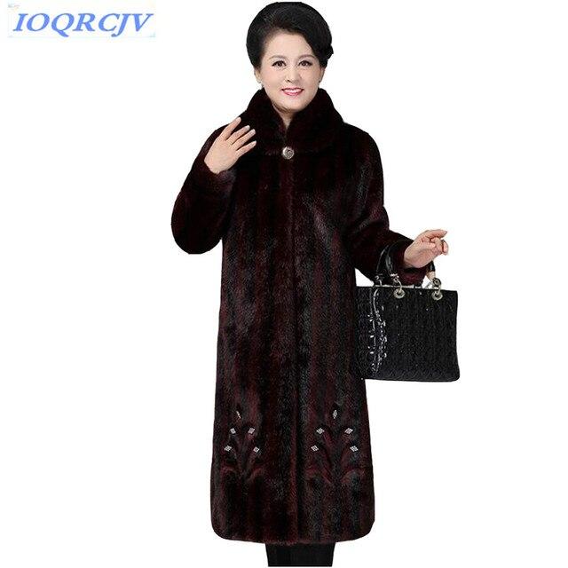2018 Winter Women's Faux Mink Fur Coat Fashion Plus size Thick Warm Fur Outerwear Middle aged Female Mink Fur Coats IOQRCJV N043