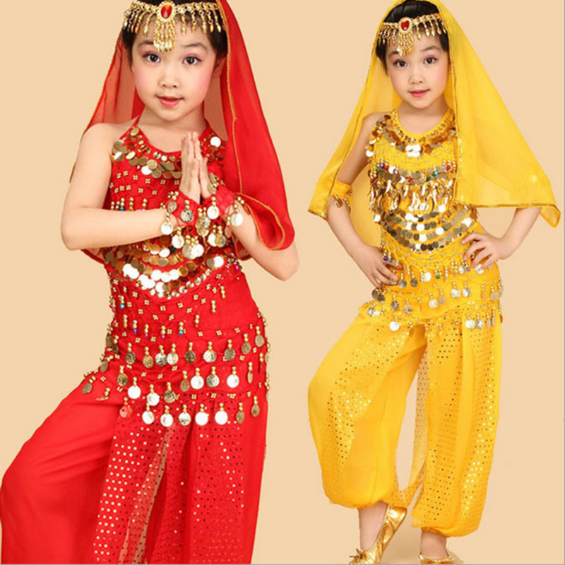 2017 barn mage dans 6 st (topp + byxa + bälte + huvudkedja + handkedja + slöja) indiska kläder steg / röd / gul tjejer bukdansdräkt