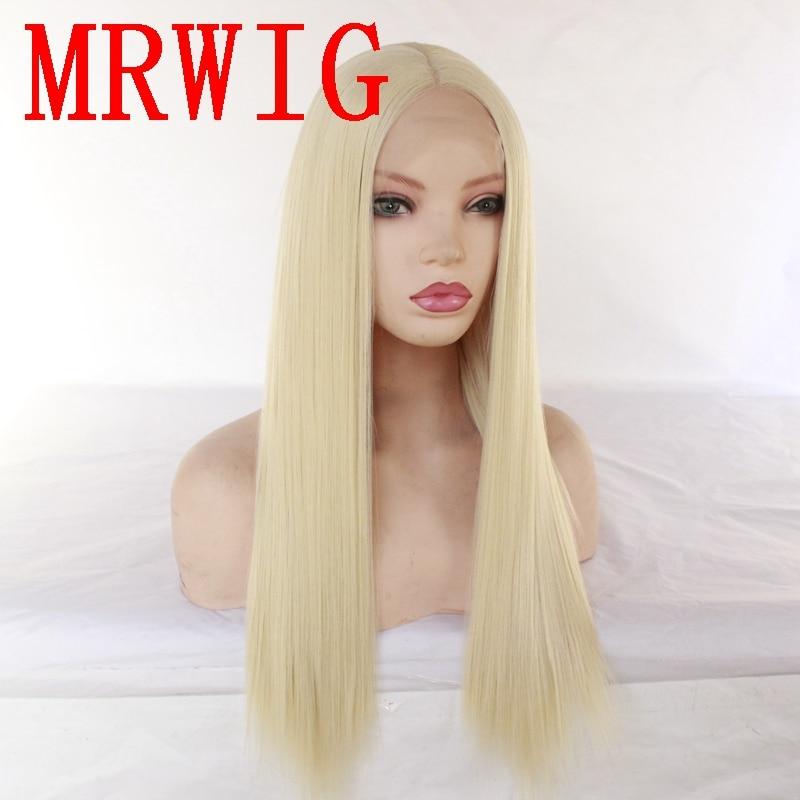 MRWIG longo loira 20in densidade 150% reto de seda peruca dianteira do laço sintético resistente ao calor de fibra
