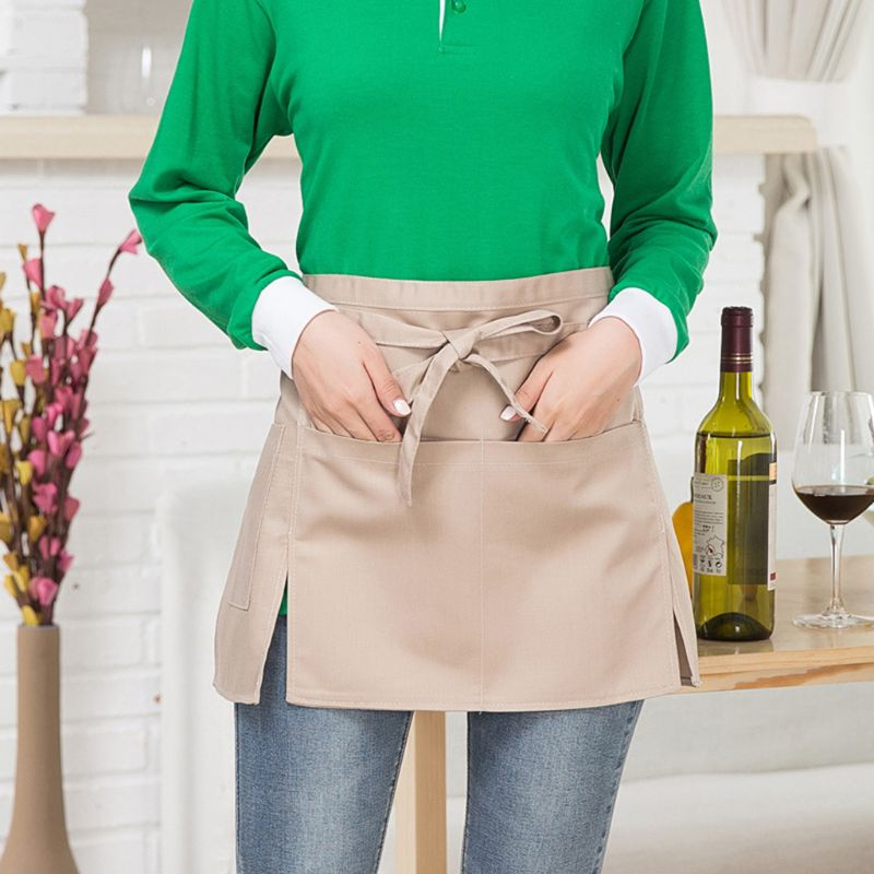 Men Women Kitchen Restaurant Waist Apron Solid Color Half Short Apron Adjusted With Pockets Pen Loops For Server Waiter Waitress