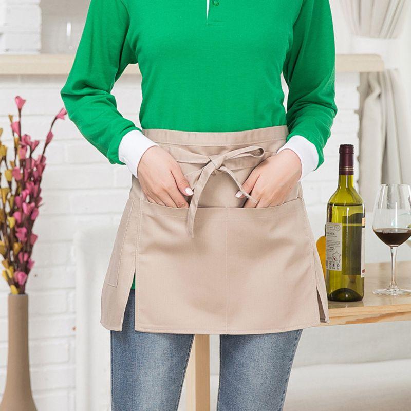 Men Women Kitchen Restaurant Waist Apron Solid Color Half Short Apron Adjusted With Pockets Pen Loops For Server Waiter Waitress