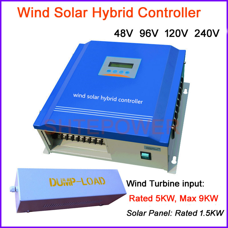 LCD Display Advanced Wind Solar Charge Controller 5000w PWM Charging Controller 5kw Wind Turbine + 1500W Solar panel 5000w hybrid wind charge controller solar 48v 5kw