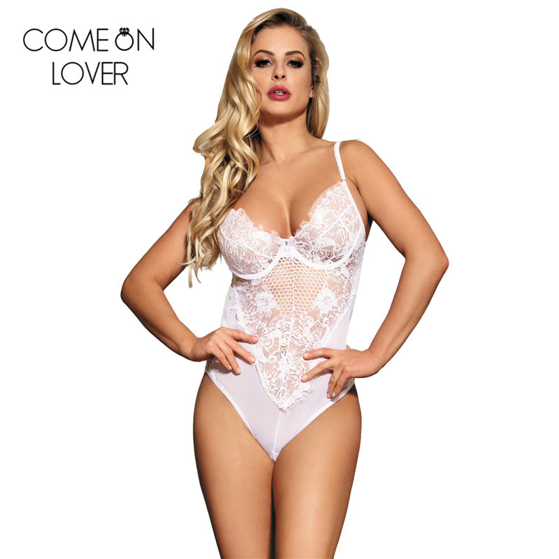RE80408 Comeonlover Black/white transparent bodysuit sexy nightwear hollow out teddy lingerie summer lace rompers body dentelle Юбка