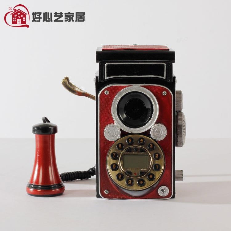 Good art new European telephone decoration retro red camera antique telephone corded phone ringing tones
