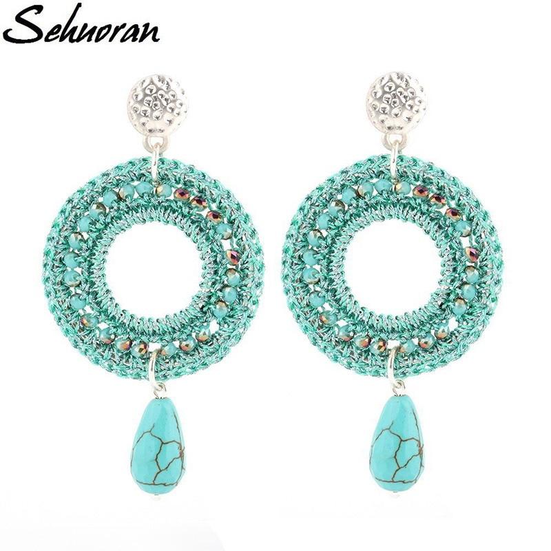 Sehuoran Dangle Earrings For Women Round Beads Handmade Vintage Bohemian Crystal Drop Earring Big Trendy Long Earrings pair of vintage alloy emboss beads triangle earrings for women