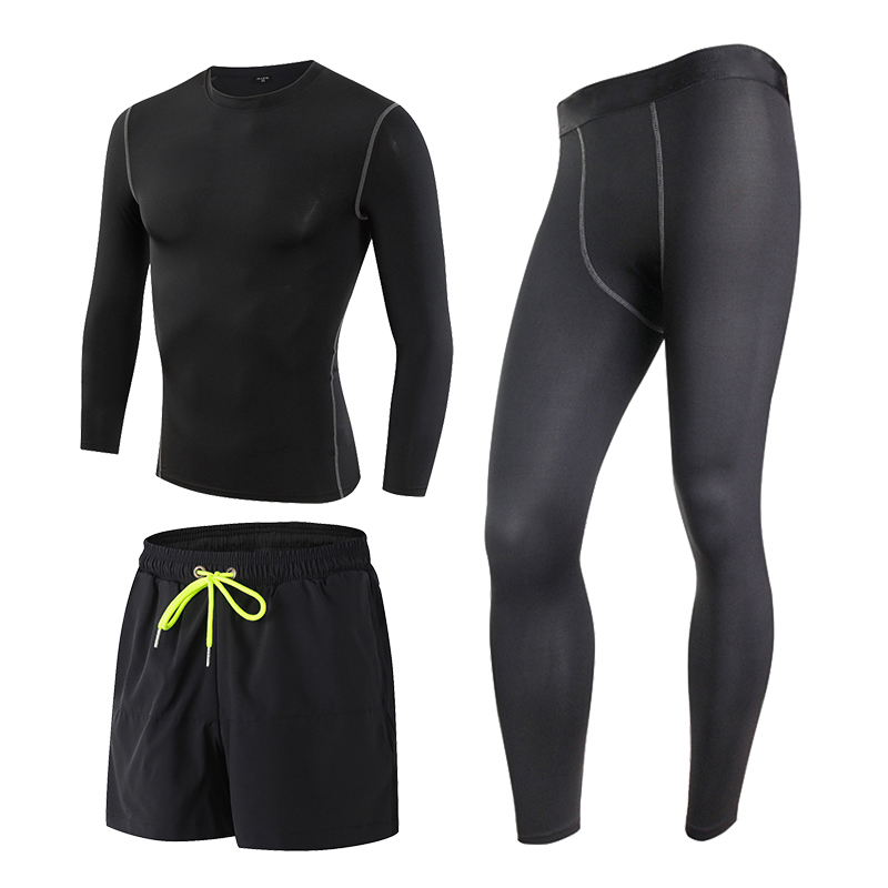 2017 Men's Sports Running 3 Pcs Tights Shorts Pants T-shirts Sport Suit Jogging Fitness Gym Long Sleeve Black Compression Suits 3 piece set men s sports running stretch tights leggings t shirts shorts training pants jogging fitness gym compression suits