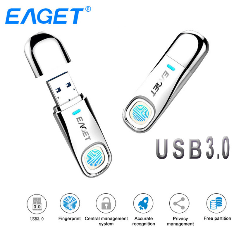 Eaget USB Flash Drive 64GB 32GB USB 3 0 Pen drive 64GB Fingerprint Encryption Metal Pendrive