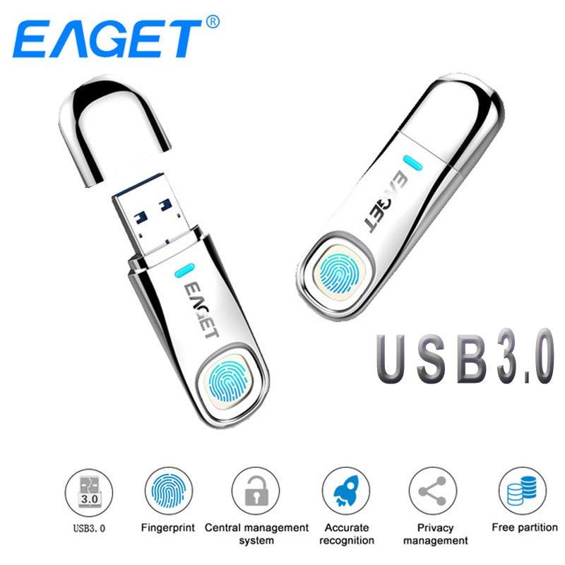 Eaget USB Flash Drive 64GB 32GB USB 3.0 Pen Drive 64GB Fingerprint Encryption Metal Pendrive USB Stick 32GB Storage Flash Disk