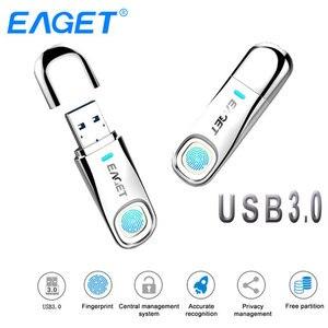 Image 1 - Eaget USB flash jazdy 64 GB 32 GB USB 3.0 Pen Drive 64 GB linii papilarnych szyfrowania metalowe Pendrive pamięć USB 32 GB do przechowywania dysku Flash