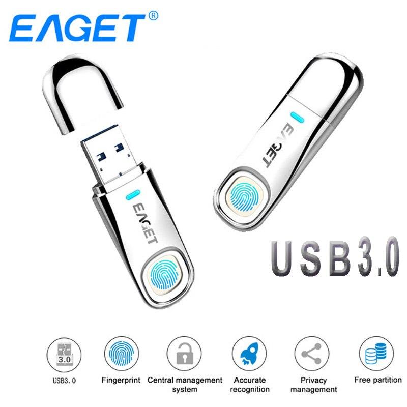 Lecteur Flash USB Eaget 64 GB 32 GB USB 3.0 lecteur de stylo 64 GB chiffrement d'empreintes digitales clé USB en métal 32 GB stockage Flash disque