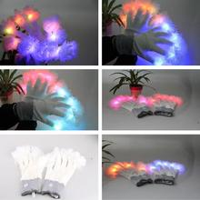 Led gloves luminous flower finger light gloves party supplies dancing club props light up toys glowing unique gloves