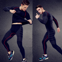 Fitness Clothing Set (top and ) Compression Suit Garment For Men Crossfit Long Sleeve T shirt leggings Bodybuilding Clothe