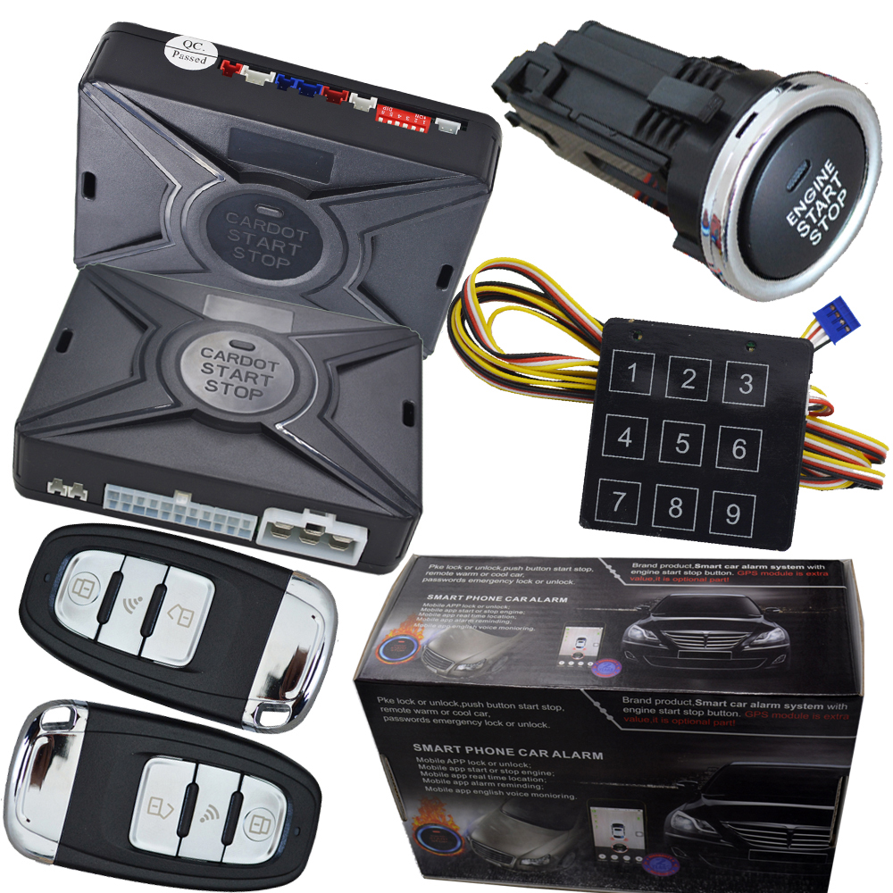 auto Smart Car Alarm hopping code car security system auto lock or unlock Passive keyless entry push button start stop car car auto engine start stop button smart key alarm security keyless entry lock or unlock by passwords pke auto central lock car