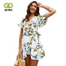 GOPLUS 2019 Floral Print Boho Chiffon Women Dress Sexy V Neck Ruffles Mini Girl Summer Elegant Bow Beach Vestidos Female