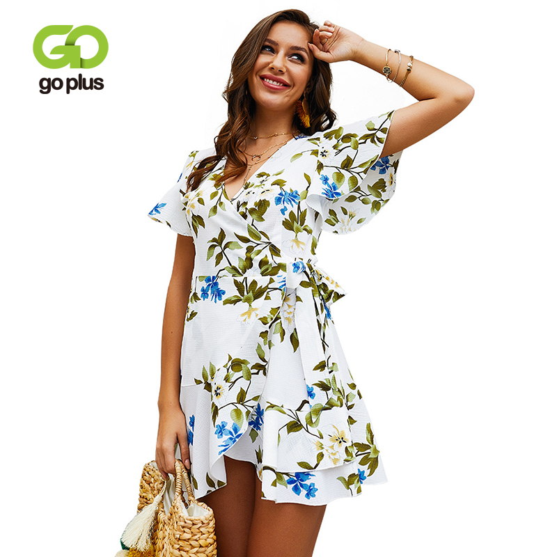 GOPLUS 2019 <font><b>Floral</b></font> <font><b>Print</b></font> <font><b>Boho</b></font> Chiffon Women <font><b>Dress</b></font> <font><b>Sexy</b></font> <font><b>V</b></font> Neck Ruffles Mini <font><b>Dress</b></font> Girl Summer Elegant Bow <font><b>Beach</b></font> Vestidos Female image