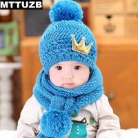 Baby Boys Girls Warm Soft Knitted Hat Scarf Set Kid S Autumn Winter Hats Scarves Suit