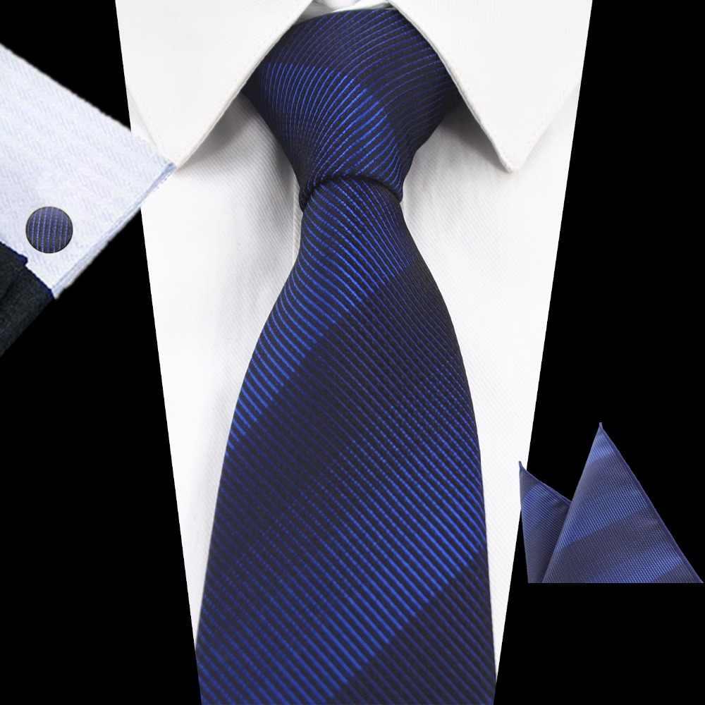 GUSLESON Marke Neue Seide Plaid Krawatte Set 8cm Braun Grau Krawatte Gravata Tasche Platz Krawatte Taschentuch Manschettenknöpfe Anzug Für hochzeit