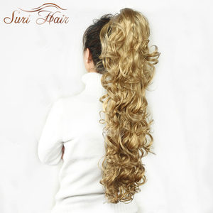 Image 3 - Suri Hair Women HairPiece Ponytail Wavy Claw Fake Hair Extensions 32 inch 220g Black/Blonde 7 Colors Avaliable