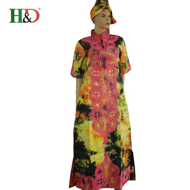 2016 de La Moda Africana Bazin Riche 100% Tela de algodón Bordado de Las Mujeres Con Georges Kaftan Vestido de Dama Largo Dashiki Gele S2405