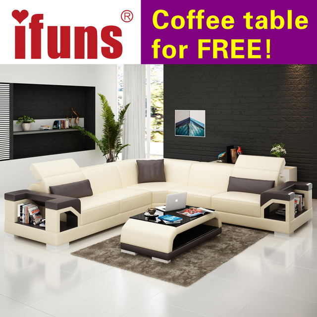 Ifuns Whole Sectional Sofas L Shape Corner Black Quality Leather Modern Design Sofa Set Living