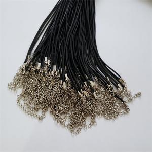 Image 4 - Hurtownie 100 sztuk/partia 2mm czarny wosk Leather cord rope naszyjniki 45cm z zapięciem Lobster smycz wisiorek liny dla diy biżuteria