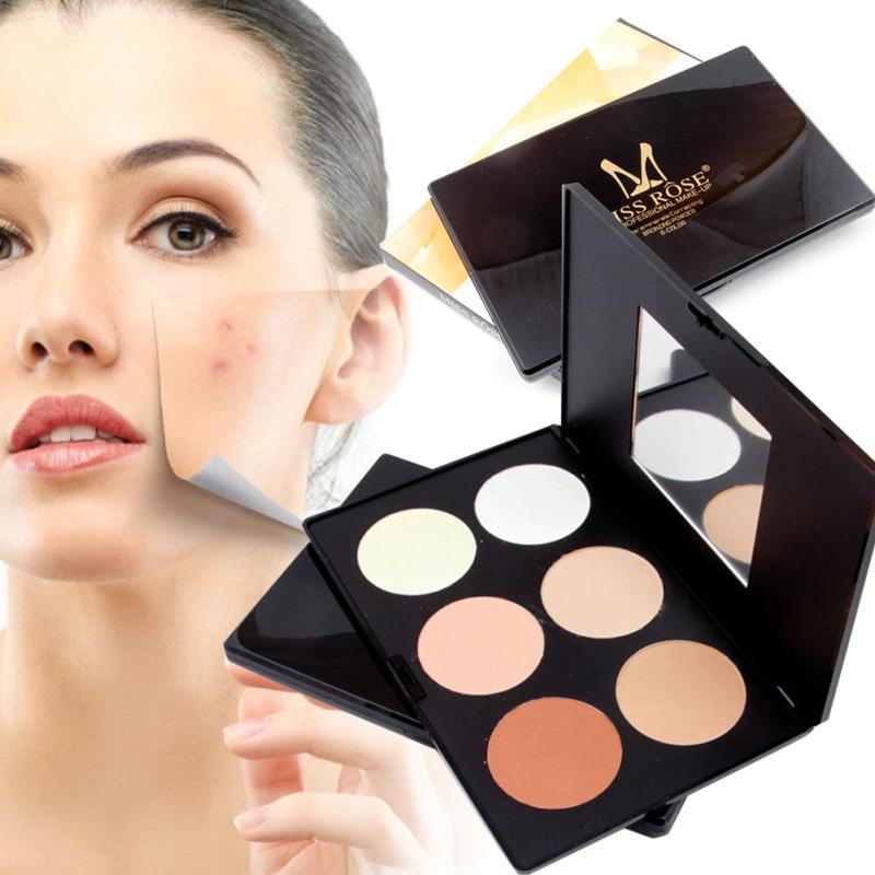 MISS ROSE Compact Face Powder <font><b>Contour</b></font> Make Up Mineral Pressed Powder Palette 6 Color Waterproof Makeup Cosmetics YE3