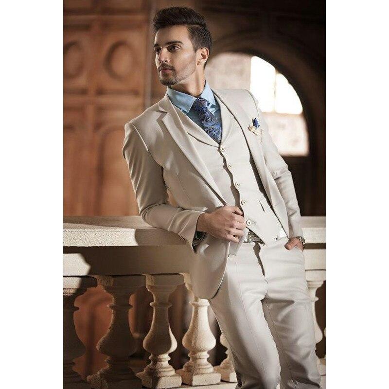 Hot Sale Beige Two Buttons Notch Lapel Men Suits Slim Fit CostumeWedding Dress Groom Tuxedos Prom Suits Jacket+Pant+Vest