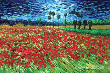 Famous art painting for living room Field of Poppies Vincent Van Gogh High quality Hand painted