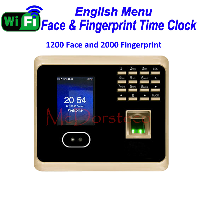1200 Wifi ZK Face Time Attendance Empolyee Time Record System Tcp/ip Face and Fingerprint Time Clock UF100plus k14 zk biometric fingerprint time attendance system with tcp ip rfid card fingerprint time recorder time clock free shipping