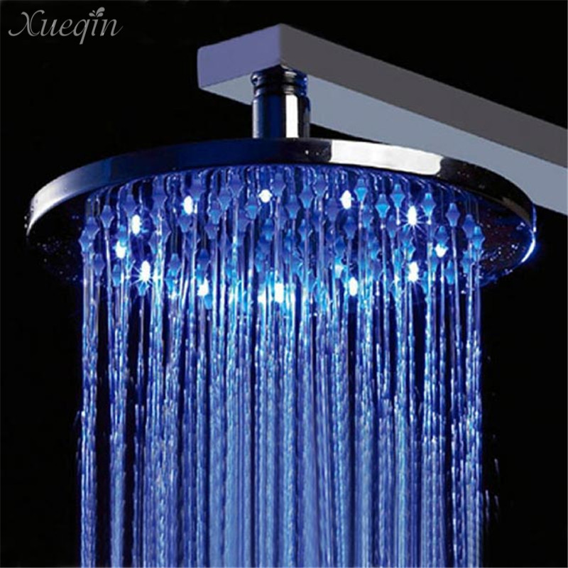 Фотография 1 Pcs Xueqin Bathroom Shower Head Chrome Polished LED Brass 8 Inch G1/2 RGB Temperature Sensor Rainfall Overhead Shower Parts